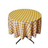 LA Linen Poly Checkered Round Tablecloth, 51-Inch, Dark yellow/White