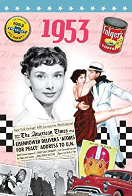 check the price and buyer reviews on 1953 Birthday Gifts - 1953 DVD Film and 1953 Greeting CardFrom Tabak Marketing ltd at Amazon site