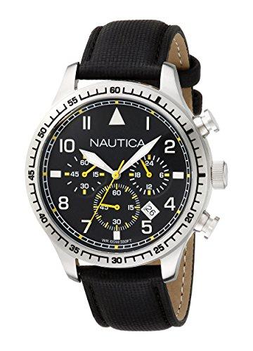 Nautica A16577G Orologio da Polso, Cronografo da Uomo, Cinturino in Tessuto, Colore Nero