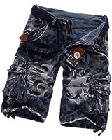 Homme Pantalon Camouflage coton Vintage Shorts de loisirs Cargo décontractée Pantalon Imprime - avec Ceintures en toile(Au Hasard) - Couleur:bleu,vert,gris foncé
