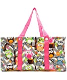 Owl Chevron Large Utility Tote With Hot Pink Trim