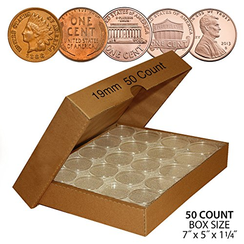 50-PENNY-Direct-Fit-Airtight-19mm-Coin-Capsule-Holder-PENNIES-QTY-50-with-BOX