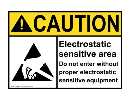 Compliancesigns Plastic Ansi Caution Sign, 10 X 7 In. With Esd / Static Info In English, White