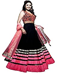 ZHot Fashion Fashion Net Unstitched Black::Pink Designer Salwar Suit (RHLL1001A) Black::Pink