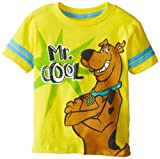 Scooby Doo Boys 2-7 Scooby Mr Cool Fashion Top with Striped Sleeves, Yellow, 4T