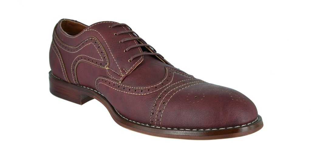 FERRO ALDO Men's Simple Perforated Oxford Contrast Stitching Lace Up Round Toe Dress Shoes 2