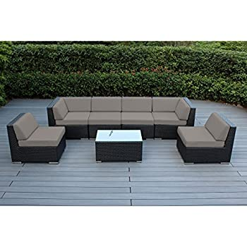 Ohana 7-Piece Outdoor Wicker Patio Furniture Sectional Conversation Set with Weather Resistant Cushions, Sunbrella Taupe