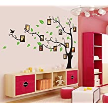 Oren Empower Decorative Black Tree With Photo Frames PVC Vinyl Large Wall Sticker (Finished Size On Wall - 170...