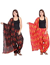 Rama Set Of 2 Printed Black & Red Colour Full Patiala With Dupatta Set