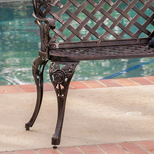 Christopher Knight Home Lucia Outdoor Garden Bench Cast Aluminum Construction Antique Copper Finish 1