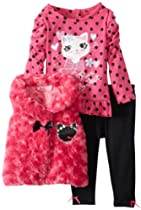 Young Hearts Baby-Girls Infant 3 Piece Cat Bow Tie Vest Pant Set, Pink, 24 Months