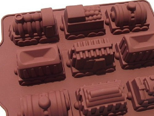 Allforhome 9 Cavities Train Molds Silicone Baking Cake Mold Chocalate Mold Train Design Handmade Soap Moulds