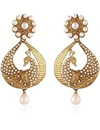 Bollywood Inspired Stylish Party Wear Gold Plated Traditional Pearl Polki Hoop Earrings/jewellery For Girls/Women...