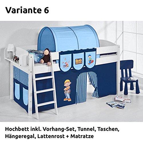 Hochbett Spielbett IDA Bob der Baumeister, mit Vorhang, weiß, Variante 6 online bestellen