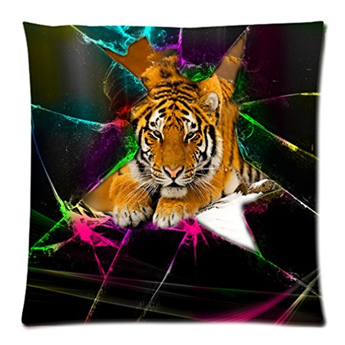 """Cool Personalized Sparkle Cracks Cute Tiger Custom Zippered Pillow Case 20""""X20""""(Two Sides) front-897237"""