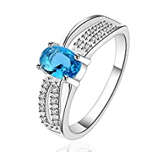 buy Happy Gogou Simulated Blue Fire Opal & Cubic Zirconia Fashion .925 Sterling Silver Rings (Alloy, 8)