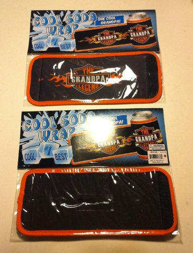 LOT OF 2-COOL SODA BEER WRAP INSULATOR DRINK COOLER COLD PACK THE GRANDPA LEGEND BRAND NEW IN PACKAGE