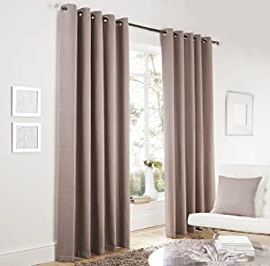 """Taupe Lincoln Herringbone Tweed Thick Lined Ring Top Curtains 66"""" X 90"""" by PCJ SUPPLIES"""