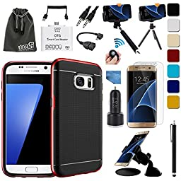 EEEKit 16 items All in 1 Kit for Samsung Galaxy S7 Edge,Bumper Style Slim Fit Case,Screen Protector,Car Mount/Charger,OTG Cable,Monopod,Tripod Mount (Red)