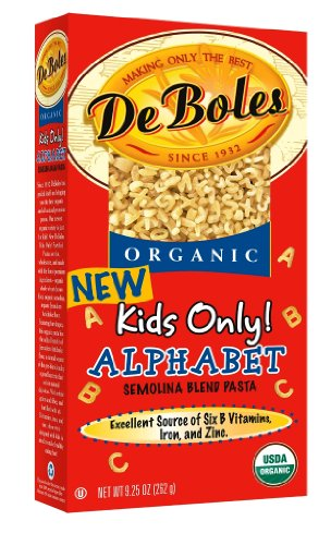 DeBoles Alphabet Organic Pasta, 9.25-Ounce Boxes (Pack of 12)