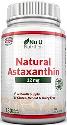 Astaxanthin 12mg - 180 Softgels (6 Month Supply) - Highest Strength Astaxanthin From Nu U Nutrition
