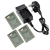 DSTE® 3pcs BLN-1 Replacement Li-ion Battery + Charger DC133U for Olympus BLN1, BCN-1 and Olympus OM-D E-M1, OM-D E-M5, PEN E-P5 Cameras
