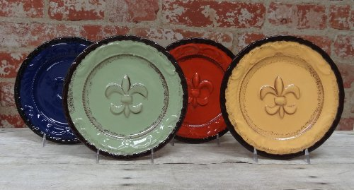 "Tuscany Hand Painted Fleur De Lis 8""W Salad Plates Set Of 4Pcs, 82033 By Ack front-555987"