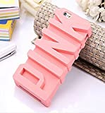 iPhone 6 Case, JEPN 3D PINK big letters Silicone Case for the Apple iPhone 6 4.7 inch Powder
