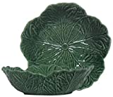 Portuguese Majolica Green Ceramic Cabbage Leaf Large Bowl, 11