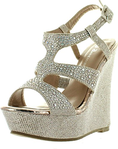 V-Luxury Womens 40-KENDRA1 Open Toe High Heel Wedge Platform Sandal Shoes