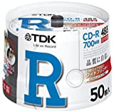 TDK CD-R 700MB 48X �ۥ磻�ȥ磻�ɥץ�֥� ������ 50�� ���ԥ�ɥ� CD-R80PWDX50PB