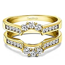 buy 0.54 Ct. Cz Royalty Inspired Half Halo Ring Guard Enhancer In Yellow Silver (1/2 Ct. Twt.)