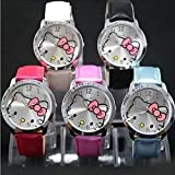 DGI MART Hello Kitty Large Face Quartz Watch Wristwatch(5pcs,Red+Pink+White+Blue+Black)+Hello Kitty Pouch & Extra Battery