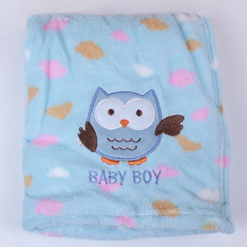 My Baby Owl Design Plush Blanket, Blue front-133151