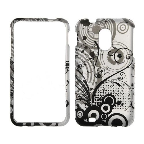 Samsung-Epic-Touch-4G-D710-Transparent-Black-Flowers-on-Silver-Rubberized-Design-Hard-Protector-Snap-On-Cover-Case-Perfect-Fit