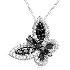 10k White Gold Black &#038; White Diamond Butterfly Pendant (1/2 cttw, I-J Color, I3 Clarity), 18&#8221;