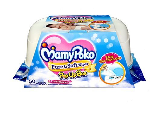Mamy Poko Pure and Soft No Fragrance Wipes Box (Dark Blue, 50 sheets) Mamy Poko
