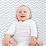 Ziggy Baby Jersey Cotton Fitted Crib Sheet Set, Blue/Grey, 2 Pack