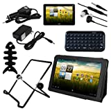 Skque 8pc Accessories Set for Acer Iconia Tab A200 10.1-Inch Tablet - Include: Black Premium Leather Case Folio w/Stand + LCD Screen Protector + Bluetooth Wireless Mini Keyboard + Multi Angles Fold-up Tablet Stand + Travel Car and Home Wall Charger + Ear