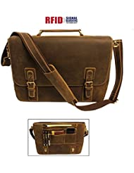 "Viosi RFID 16"" Genuine Leather Shoulder Messenger Computer Laptop Bag Briefcase"