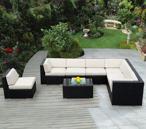... Patio Sofa Wicker Sectional Furniture 8pc Couch Set with Free Patio