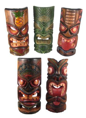 Set of 5 Polynesian Tiki Style Wall Masks 11 Inch