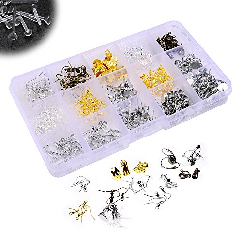 Earring Hooks Earrings Blank Pins Stud Flat Pad Earring Finding French Earring Earwire Earring Clip Pads Invisible Plastic Blank Earrings Pin Post Small Tiny Head Stud Back Findings with box,19 style (Clip Earring Findings compare prices)