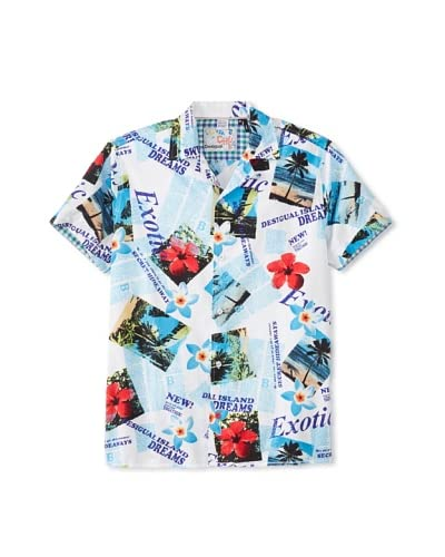 Desigual Men's Flowers with Text Short Sleeve Woven Shirt