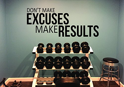 Fitness Wall Decal, Fitness Studio Decor, Home Gym Wall Decal DON'T MAKE EXCUSES MAKE RESULTS