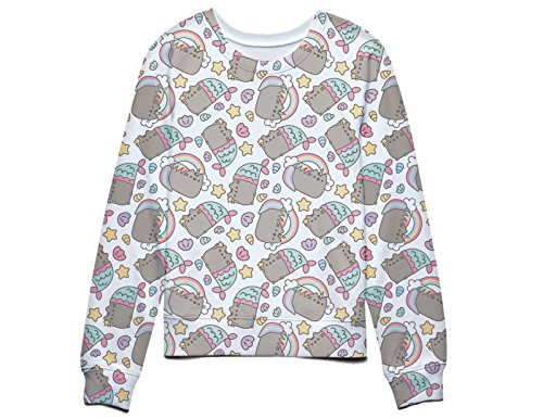 Pusheen The Cat Rainbows Unicorns and Mermaids Juniors Sweatshirt S