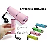 Electromart 9 Led Ultra Bright Rubber Glow In The Dark Luminous Torch - Pink