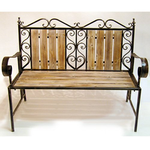 MOROCCAN - Solid Wood and Metal Outdoor Garden Bench