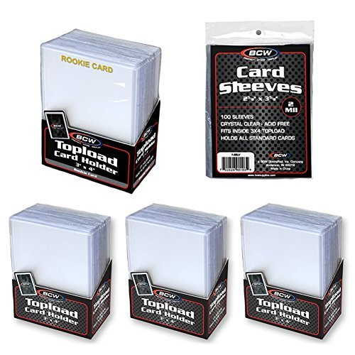 200 Piece Toploader and Penny Sleeve Value Bundle - 75 Standard 3x4 Trading Card Top Loaders - 25 Gold Embossed Rookie Trading Card 3x4 Top Loaders - 100 Trading Card Penny Sleeves - Sports Card Collectible Top Load Card Protectors Value Set for Football Cards, Baseball Cards, Basketball Cards, Hockey Cards, and Sports Card Collections (Gold Football Cards compare prices)