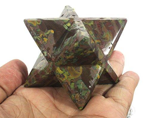 Poppai Jasper Merkaba Star Large Crystal Sacred Geometry Reiki Point 8 Healing
